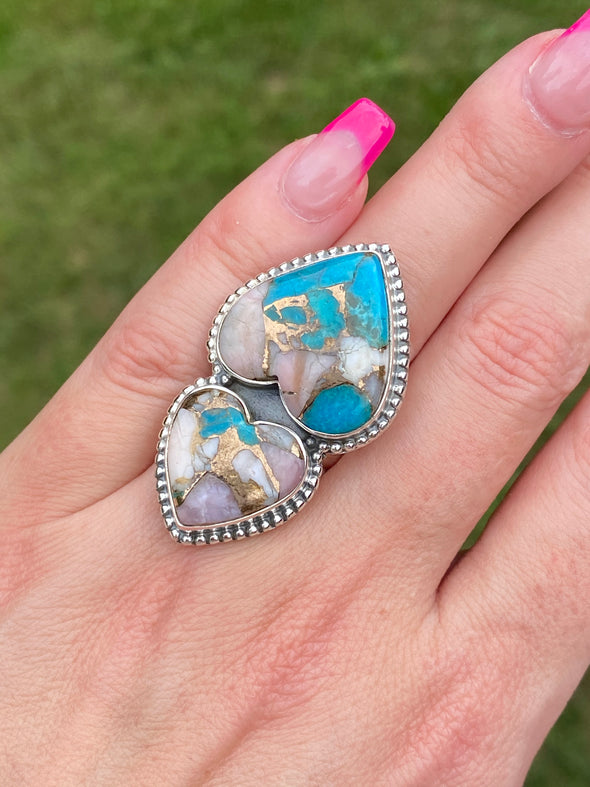 Sterling Silver Custom Two Heart Pink Opal Turquoise Ring SZ 6