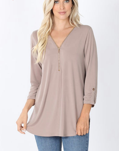Front Zip 3/4 Sleeve Top