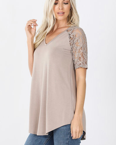 Mocha Lace Sleeve V Neck Top