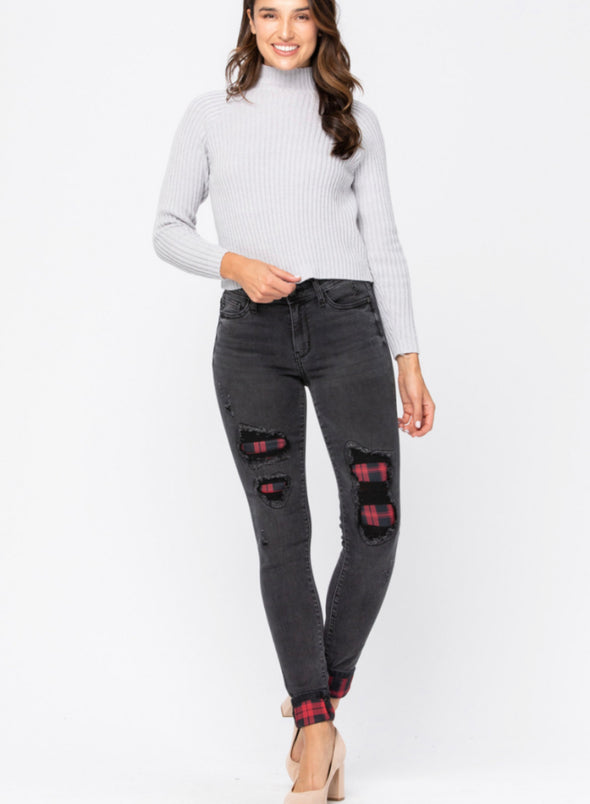 Judy Blue Black Buffalo Plaid Patch Skinny Jean