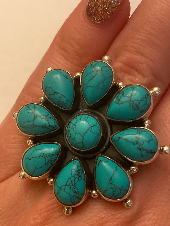 Sterling Silver Turquoise Flower Ring SZ 7
