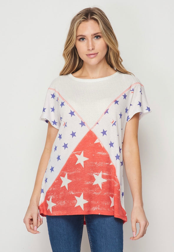 Honeyme Stars Red White Top