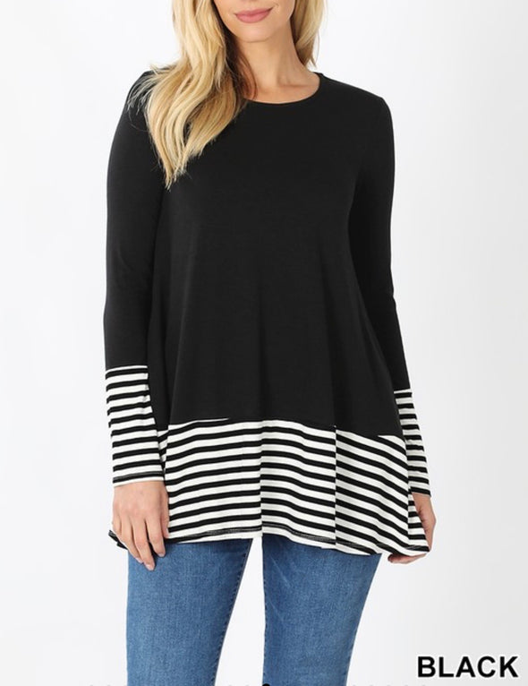 Striped Solid Contrast Top