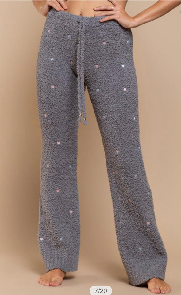POL Berber Fleece Pants With Embroider Hearts