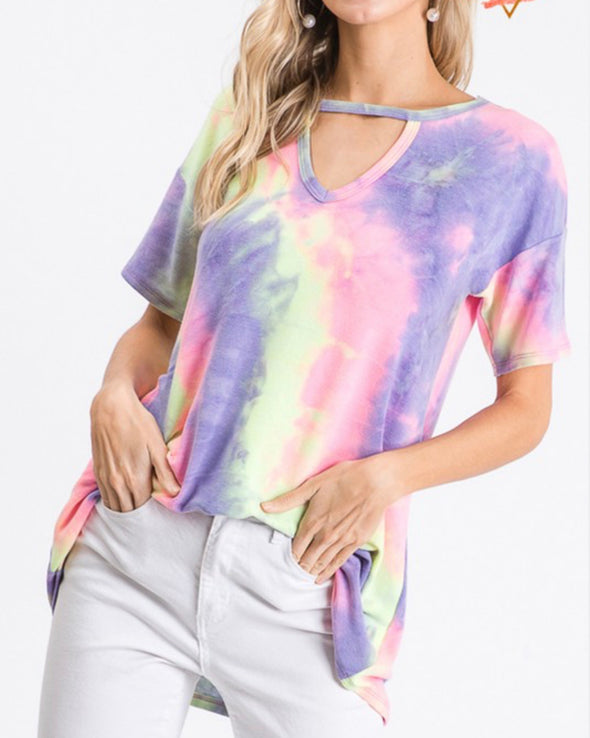 Purple/Lime Tie Dye Key Hole Top