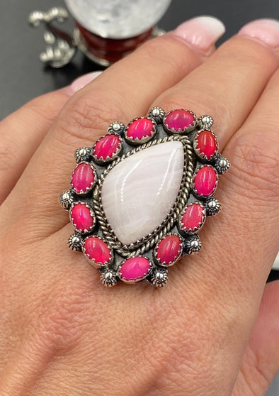 Sterling Silver Pink Aragonite Dyed Ethiopian Opal Full Silver Back Adjustable Ring