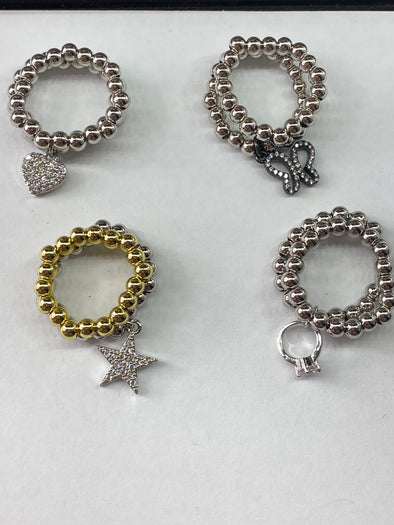 Stretchy Ring Set With Charm