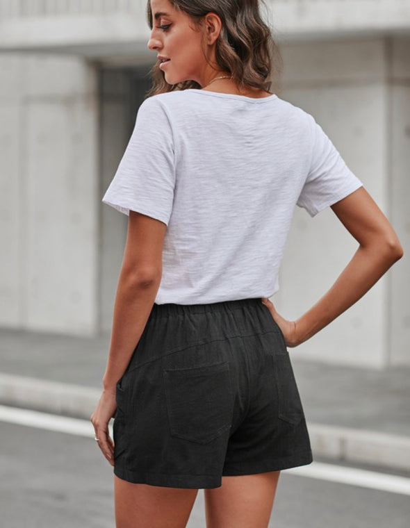 Black Elastic Waist Shorts with Pockets
