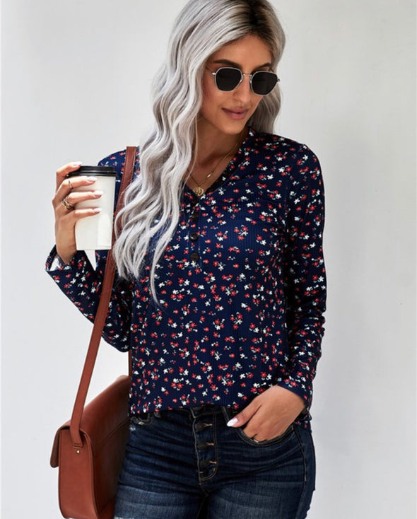 Navy Button Floral Top