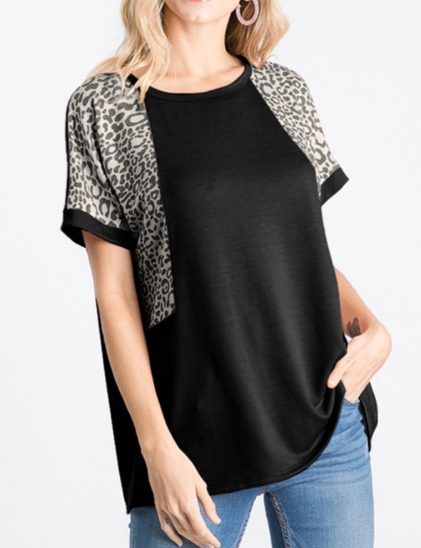 Charcoal Cheetah Sleeve Top