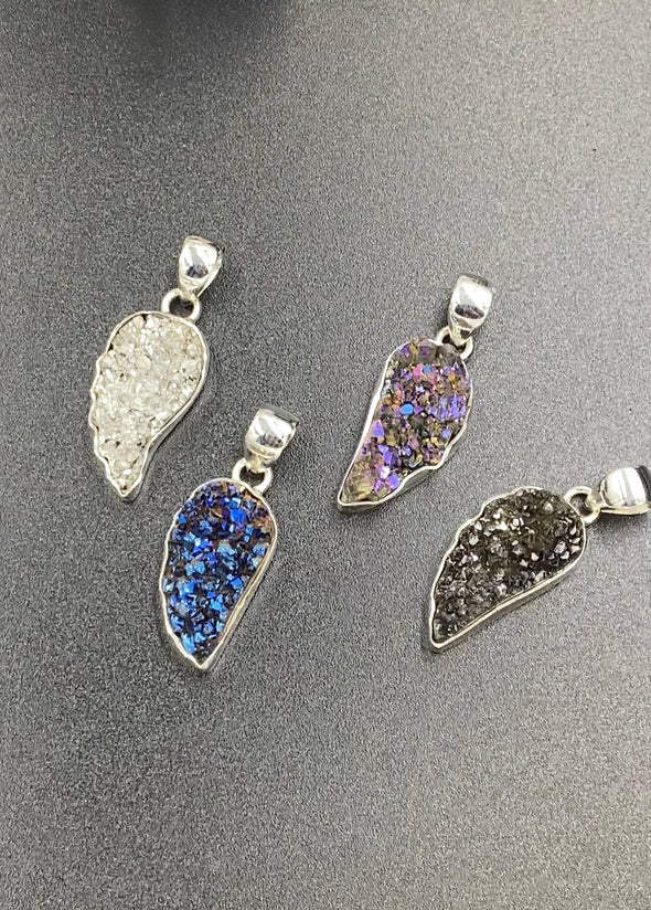 Sterling Silver Druzy Angel Wing Pendant