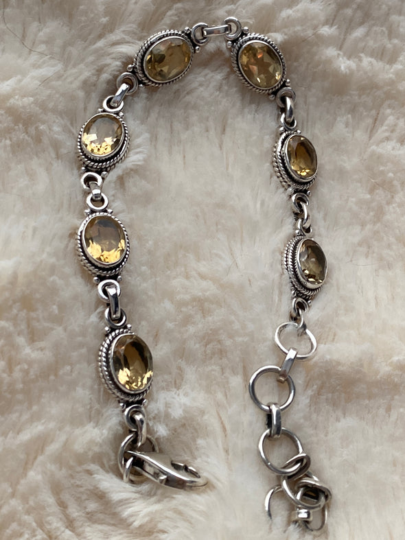 Sterling Silver Lemon Citrine Bracelet