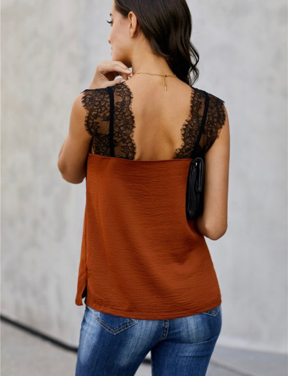 Lace Trim Strap Top
