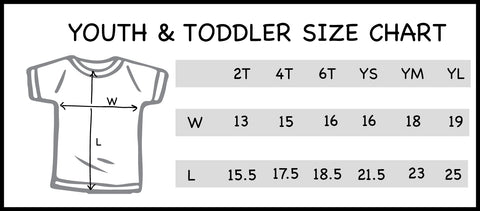 youth and toddler size chart