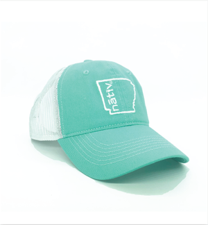 arkansas nativ mint green trucker