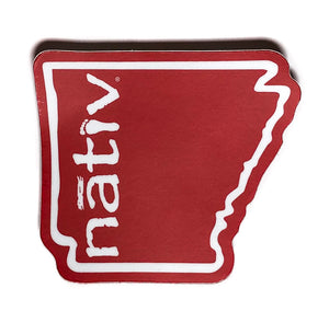 red arkansas nativ sticker ~ benefiting the american heart association
