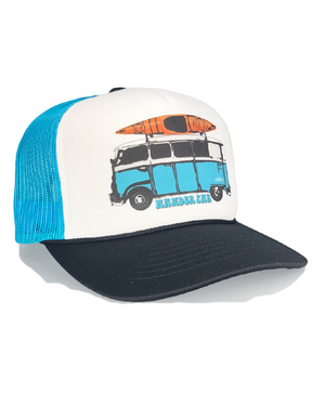 roadtrip foam front mesh trucker ~ white, navy and teal