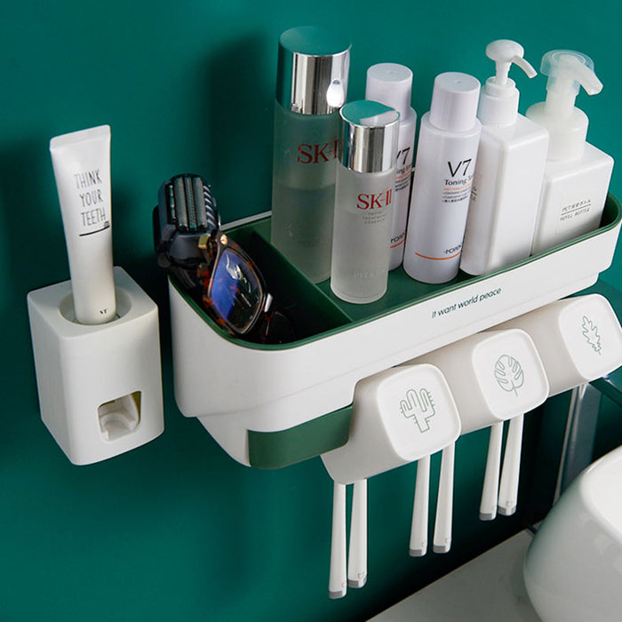 Wall-mounted wash cup holder set
