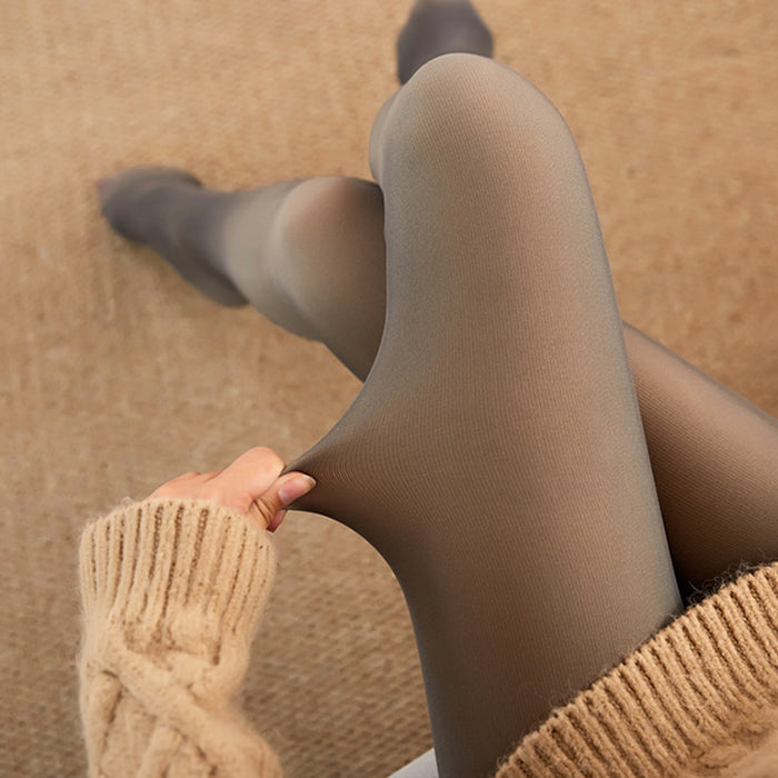 Grey translucent brushed thick pantyhose