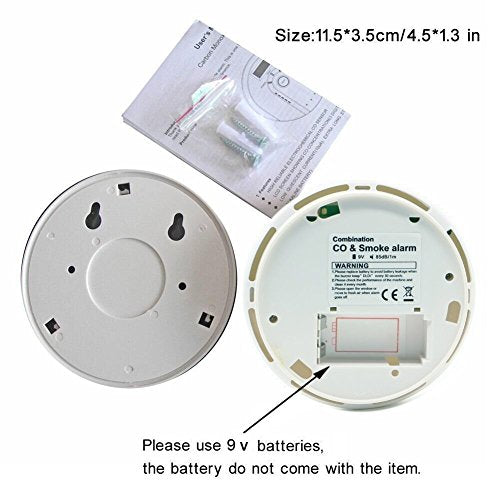 Smoke and carbon monoxide alarm combination detector with voice alarm (CO + smoke alarm)