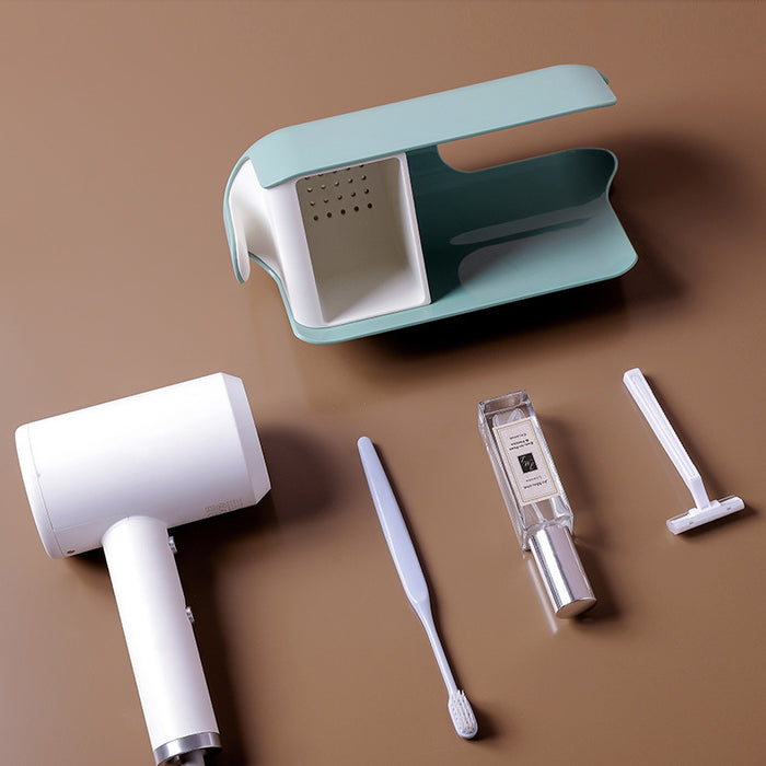 Multifunctional hair dryer storage shelf