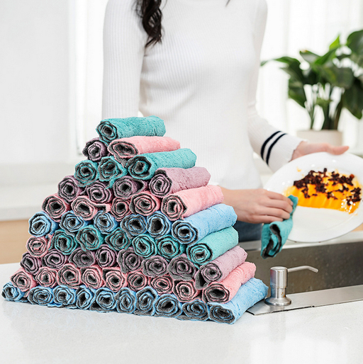 Double-sided water-absorbing lint-free dish cloth