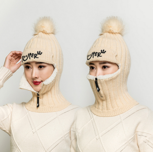 Winter zip pullover knitted wool hat