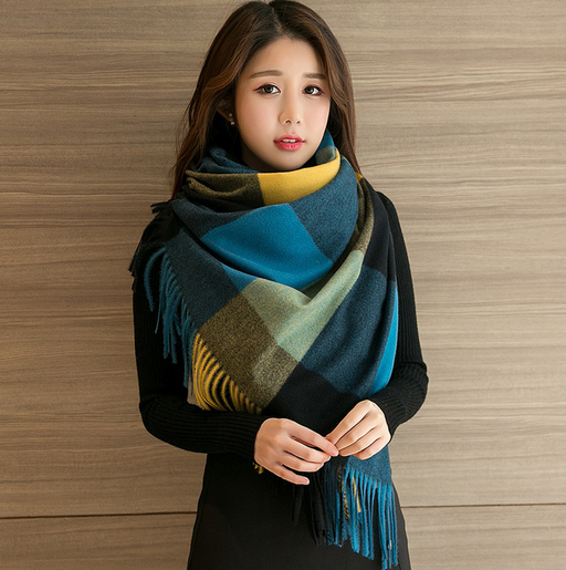 Faux cashmere plaid scarf