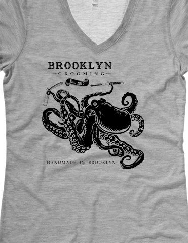 Women's Octopus Grey V-neck tee - Brooklyn Grooming