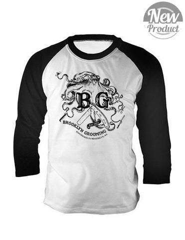 Men's -BG- Octopus Baseball Tee - Brooklyn Grooming