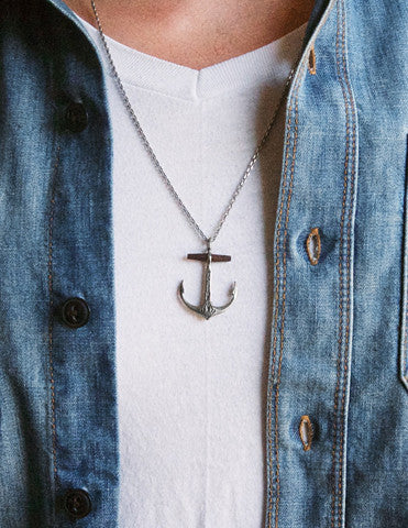 handmade silver anchor necklace