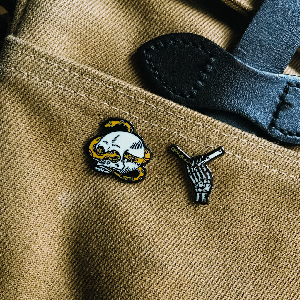Skeleton Hand and Razor Blade Enamel Pin - Brooklyn Grooming