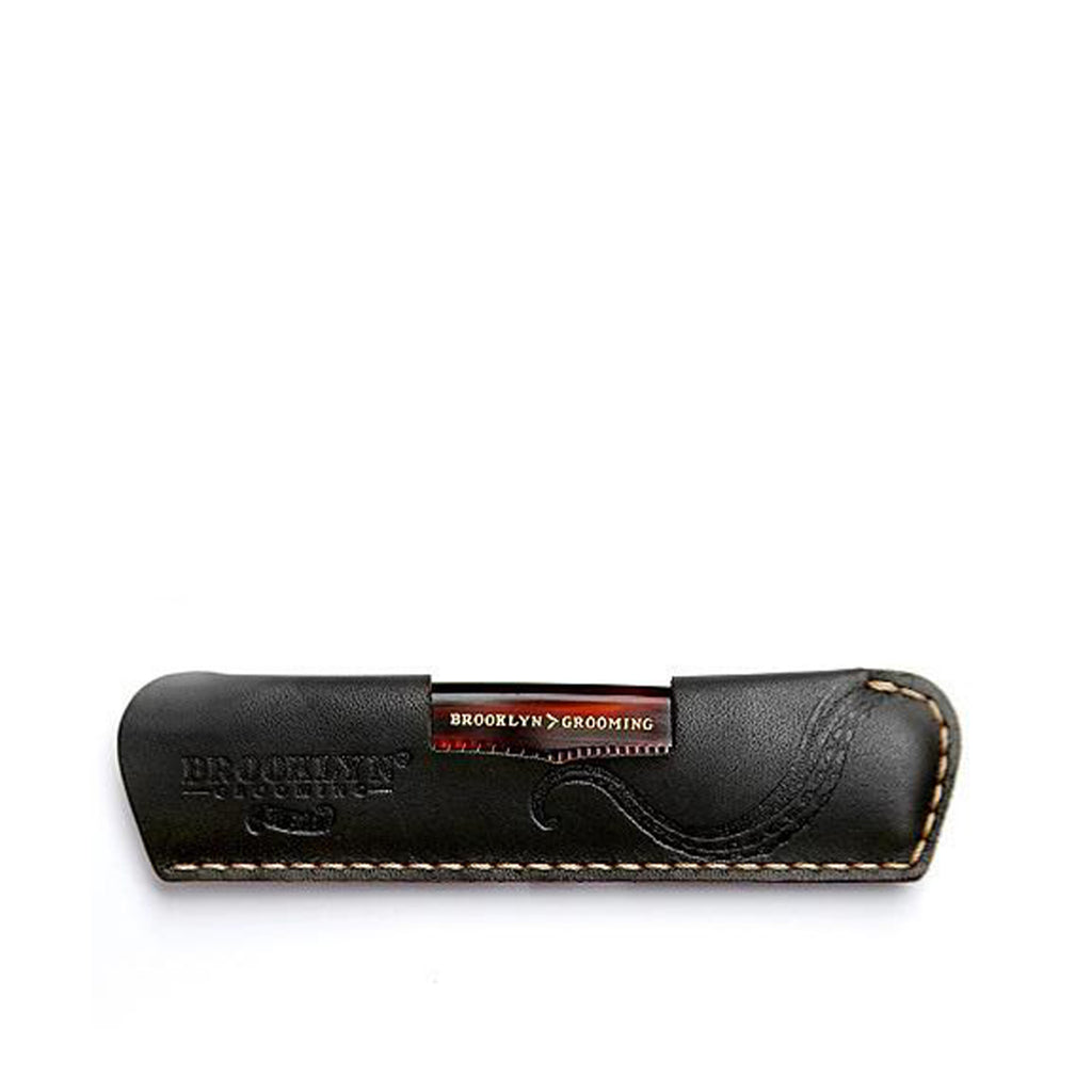 Leather Comb Sleeve with Pocket Comb - Brooklyn Grooming
