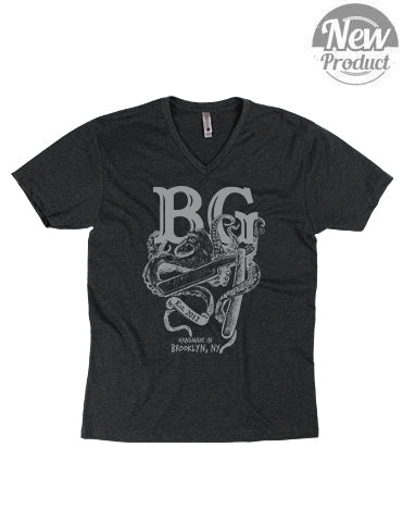 Men's BG Heather Charcoal V-Neck tee - Brooklyn Grooming