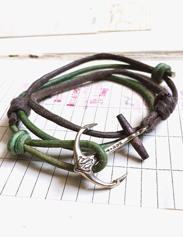 Anchor unisex bracelet with leather and cord