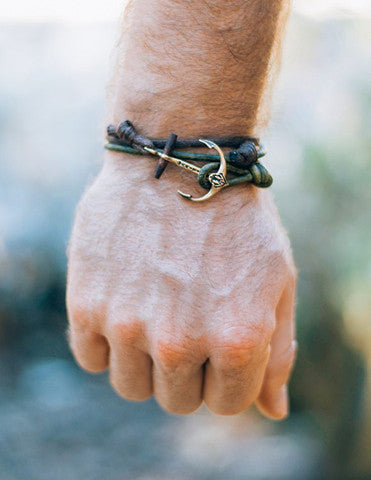 Handcrafted anchor bracelet waxed cord