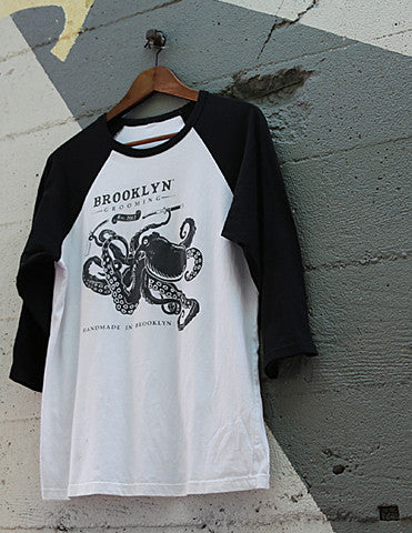 Ladies Octopus Baseball Tee - Brooklyn Grooming