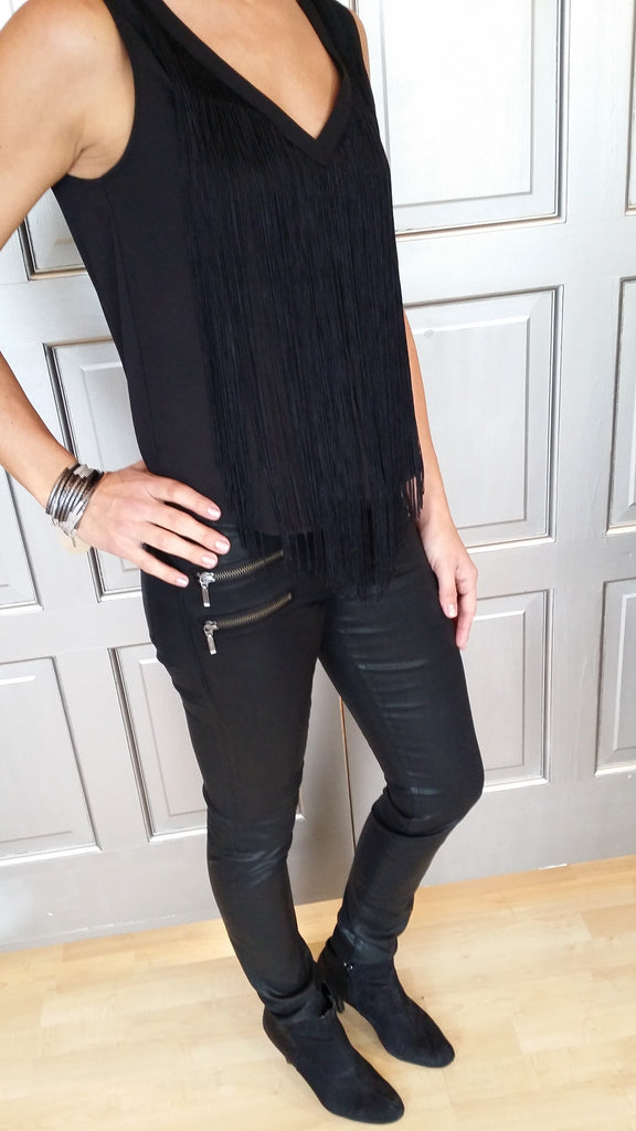 Fringe V-Neck Sleeveless Top