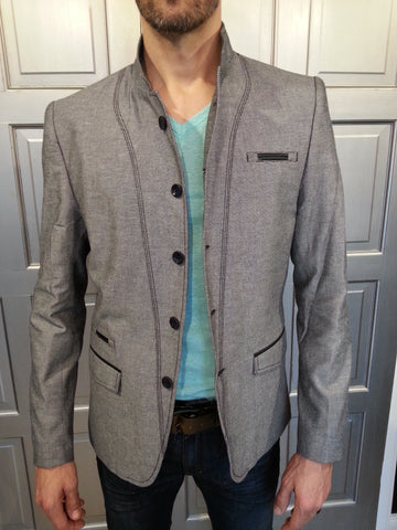 Grey Blazer with Black Detailing