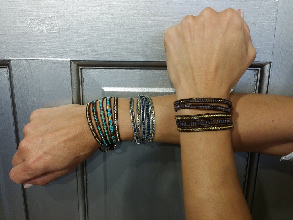 Nakamol Leather and Chain Wrap Bracelet