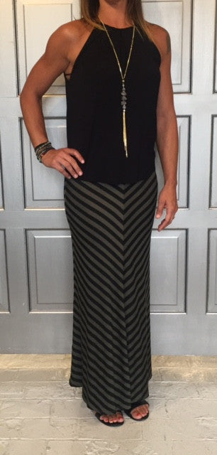 Chevron Printed Maxi Skirt