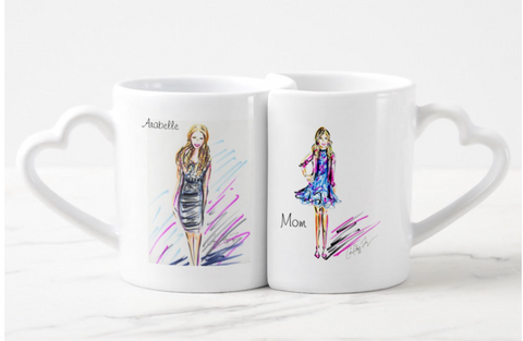 Personalized Ceramic Mug Set with Cris Logan Illustration
