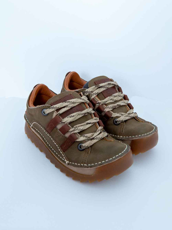 Art 590 Ladies Whipstitch Fat Soled Lace Up Shoes