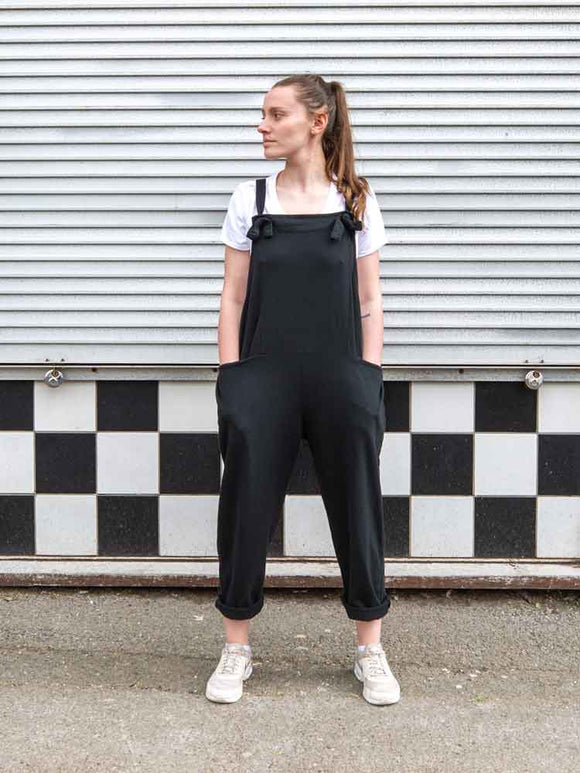 Lottie&Moll DORA Ladies Black Stretch Cotton Jersey Dungarees