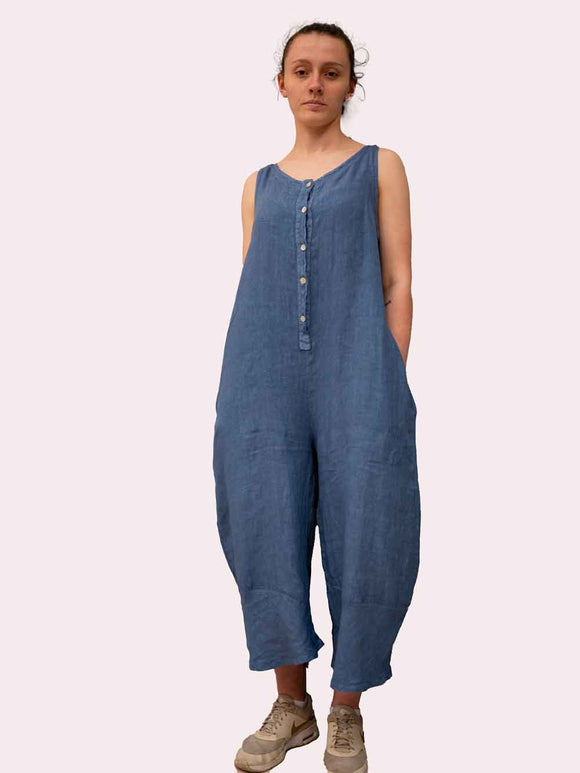 Lottie&Moll KIRSTEN Ladies Blue Button Front Linen Playsuit