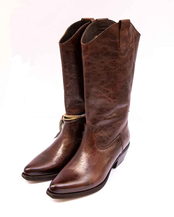 FELMINI Ladies High Brown Crackle Leather Cowboy Boots