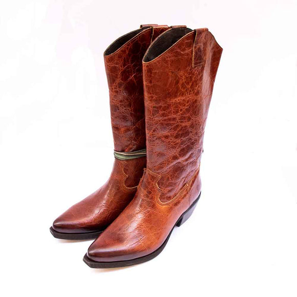 FELMINI Ladies High Tan Crackle Leather Cowboy Boots