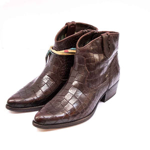 FELMINI Ladies Brown Mock Croc Leather Cowboy Ankle Boots