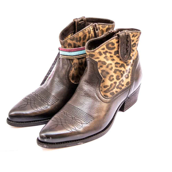 FELMINI Ladies Leopard Print Leather Cowboy Ankle Boots