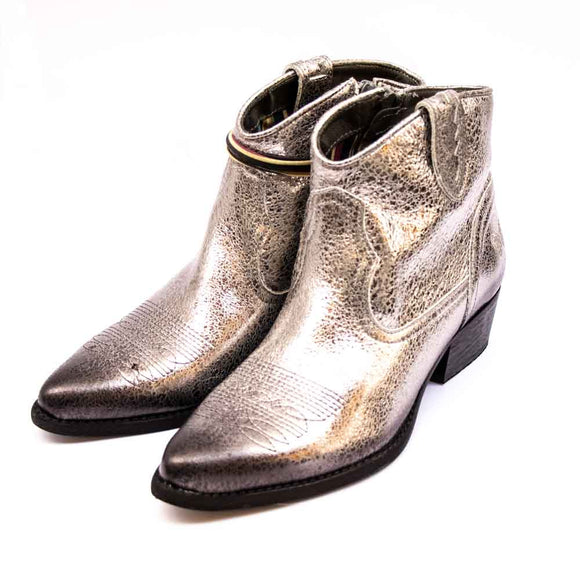 FELMINI Ladies Silver Cowboy Ankle Boots